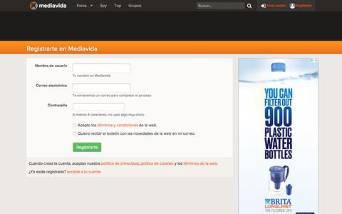 Screenshot of Signup Page mediavida.com - Registrarte en Mediavida | Mediavida - captured Sept. 20, 2018