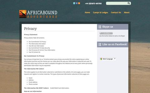 Screenshot of Privacy Page africaboundadventures.com - Privacy  | Africabound Adventures - captured Sept. 30, 2014