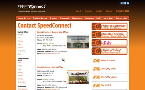 Screenshot of Contact Page Locations Page speedconnect.com - SpeedConnect | Providing internet and telephone service to Michigan, Iowa, Nebraska, South Dakota, Idaho, Montana and Texas - captured Oct. 26, 2014