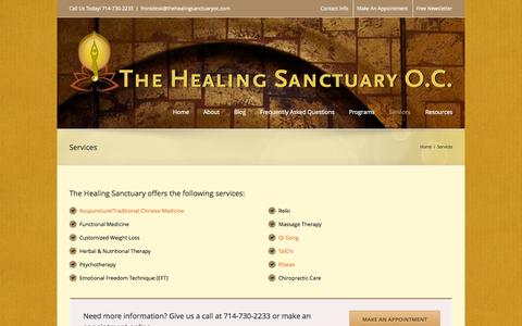 Screenshot of Services Page thehealingsanctuaryoc.com - The Healing Sanctuary   –  Services - captured Oct. 26, 2014