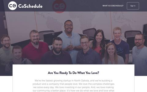 Screenshot of Jobs Page coschedule.com - Jobs - captured Nov. 5, 2015