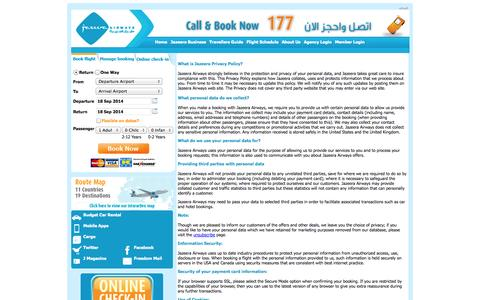 Screenshot of Privacy Page jazeeraairways.com - Privacy Policy - Jazeera Airways - captured Sept. 18, 2014