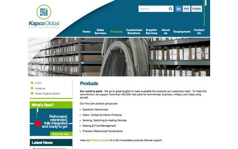 Screenshot of Products Page avionglobal.com - Products   Kapco GlobalKapco Global - captured Sept. 30, 2014