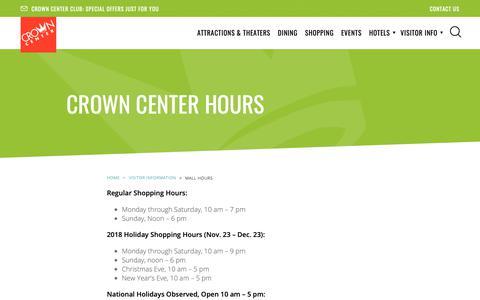 Screenshot of Hours Page crowncenter.com - Crown Center Hours | Kansas City Mall - captured Sept. 30, 2018