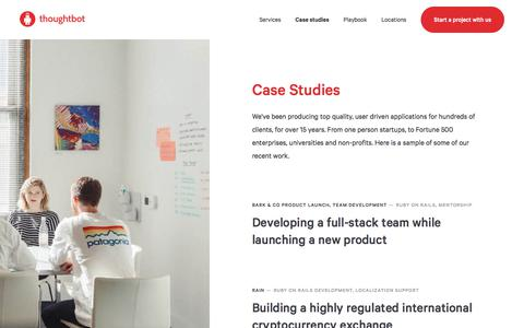 Screenshot of Case Studies Page thoughtbot.com - Web and mobile app development - thoughtbot - captured Oct. 1, 2019