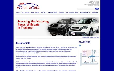 Screenshot of Testimonials Page siammotorworld.com - Testimonials | New car, used cars for sale - captured Oct. 7, 2014