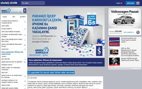 Screenshot of Home Page uludagsozluk.com - uludağ sözlük - captured Jan. 17, 2016