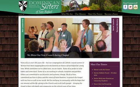 Screenshot of Home Page sanrafaelop.org - The Dominican Sisters of San Rafael - captured Oct. 5, 2014