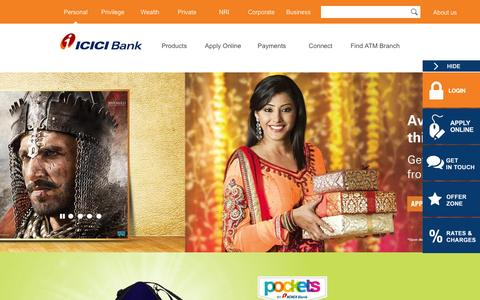 Screenshot of Products Page icicibank.com - ICICI Bank.com : Personal Banking | Product - captured Nov. 30, 2015