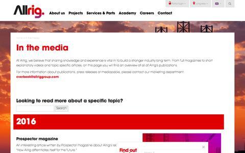 Screenshot of Press Page allriggroup.com - Allrig in the media - captured Aug. 8, 2017