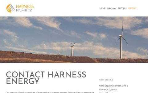 Screenshot of Contact Page harnessre.com - Contact Leading Met Tower Installers Harness Energy — Harness Energy - captured Feb. 17, 2018