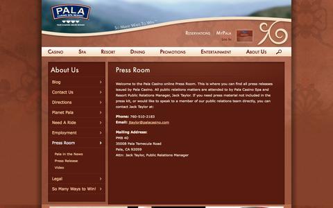 Screenshot of Press Page palacasino.com - Press Room | Pala Casino - captured Sept. 25, 2014