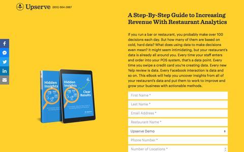 Screenshot of Landing Page upserve.com - Restaurant Analytics Guide | Upserve - captured April 9, 2018