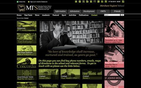 Screenshot of Contact Page mtsn.org.uk - Contact: Merchant Taylors' School - captured Oct. 27, 2014