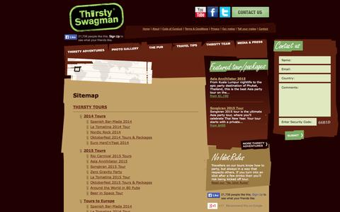 Screenshot of Site Map Page thirstyswagman.com - Australian Pub Crawls, Around The World Beer Festivals, European Beer Tours, Beer Travel & Holidays, Beer Trips & Tours, Pub Crawls - captured Oct. 9, 2014