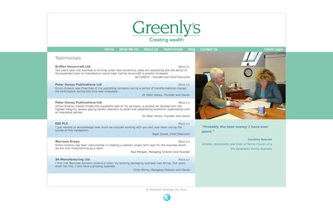 Screenshot of Testimonials Page greenlys.co.uk - Greenly's are specialist advisors to SMEs, their directors and owners - captured Oct. 3, 2014