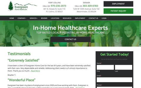 Screenshot of Testimonials Page evergreenhhc.com - Testimonials | Evergreen Home Health Care - captured Sept. 29, 2018