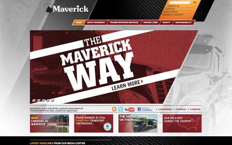 Screenshot of Home Page drivemaverick.com - Maverick Transportation / Home - captured April 13, 2016