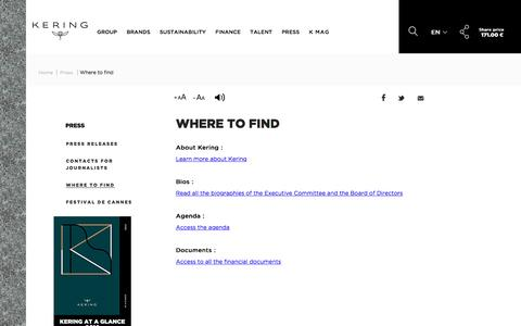Where to find | Kering