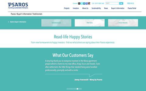 Screenshot of Testimonials Page psaros.com.au - Buyer's Information / Testimonials - captured Nov. 15, 2016
