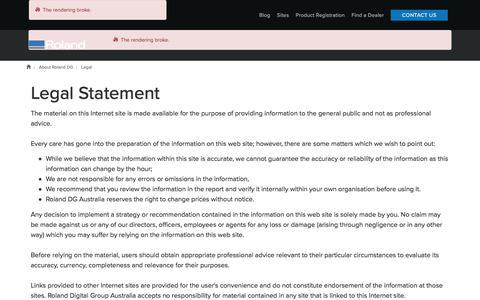 Screenshot of Terms Page rolanddg.com.au - Legal Statement | Roland DG Australia - captured Nov. 13, 2017