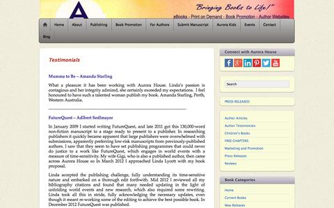 Screenshot of Testimonials Page aurorahouse.com.au - Testimonials | Aurora House | Author Testimonials | - captured Sept. 30, 2014