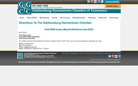 Screenshot of Maps & Directions Page ggchamber.org - Directions to Our Chamber of Commerce in Montgomery County, MD - GGCC - captured Oct. 1, 2014