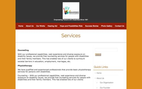 Screenshot of Services Page maardec.org - Services | Mobility Aid and Appliances Research and Development Centre - captured Feb. 2, 2016