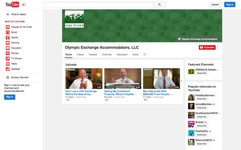 Screenshot of YouTube Page youtube.com - Olympic Exchange Accommodators, LLC  - YouTube - captured Oct. 22, 2014