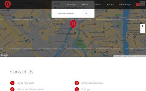 Screenshot of Contact Page nezasa.com - Contact - Nezasa - captured Aug. 20, 2018