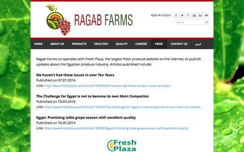 Screenshot of Press Page ragabfarms.com - Press - Ragab Farms - captured Dec. 7, 2016