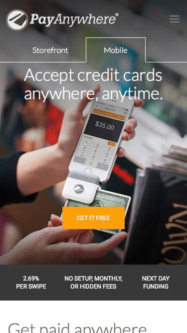 Screenshot of Home Page  payanywhere.com - accept credit card reader iphone, android, ipad POS - PayAnywhere