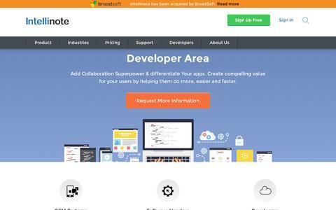 Screenshot of Developers Page intellinote.net - Intellinote Developer Portal - Intellinote - captured July 3, 2016
