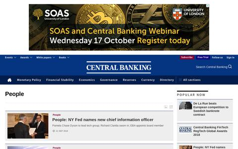 Screenshot of Team Page centralbanking.com - People news and analysis articles - Central Banking - captured Sept. 22, 2018