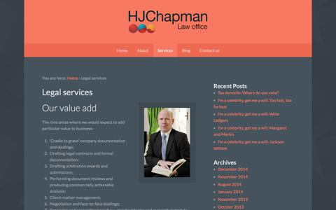 Screenshot of Services Page hjchapman.com - HJChapman - Freelance legal services - captured July 10, 2016
