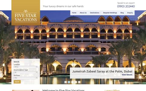 Screenshot of Home Page fivestarvacations.co.uk - Luxury Holidays and Exclusive Resorts from Five Star Vacations - captured Sept. 30, 2014