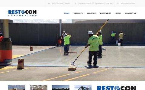 Screenshot of Home Page restocon.com - Restocon Corporation | Concrete Floor Coatings & Roof Coatings for Industrial & Commercial Needs - captured Aug. 16, 2015