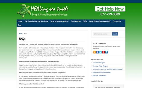 Screenshot of FAQ Page healingseaturtle.com - FAQs | Addiction Intervention Services | HEALing sea turtle - captured Oct. 1, 2014