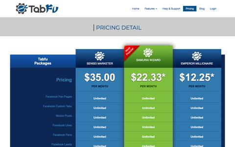 Screenshot of Pricing Page tabfu.com - Tabfu TabFu Pricing - Save up to 80% with our Premium Packages - captured Sept. 21, 2018