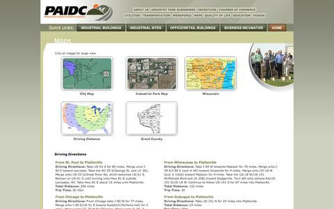 Screenshot of Maps & Directions Page plattevilleindustry.com - Platteville Area Industrial Development Corporation - captured Oct. 2, 2014