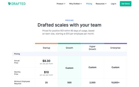 Screenshot of Pricing Page drafted.us - Drafted Network Recruiting - Pricing - captured Nov. 13, 2019