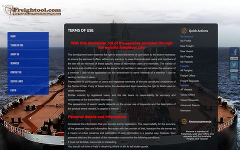 Screenshot of Terms Page freightool.com - Terms of Use : Web Freights and Vessels Dealing Platform - captured Oct. 6, 2014