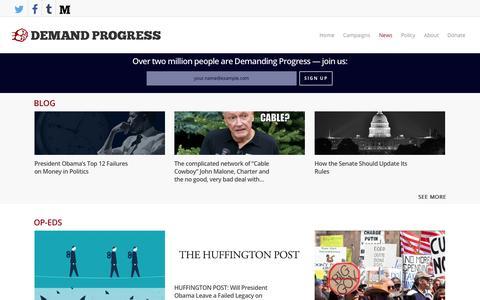 Screenshot of Press Page demandprogress.org - News - Demand Progress - captured Jan. 7, 2016
