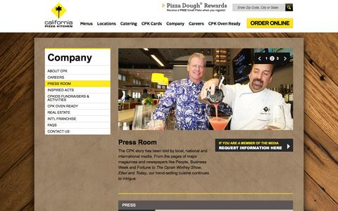 Screenshot of Press Page cpk.com - California Pizza Kitchen - Investor relations- analyst coverage, annual reports, fact sheet, press releases - captured Sept. 23, 2014