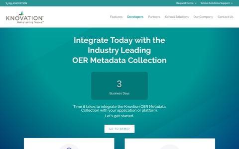 Screenshot of Developers Page knovationlearning.com - Developers | Knovation - captured Oct. 15, 2018