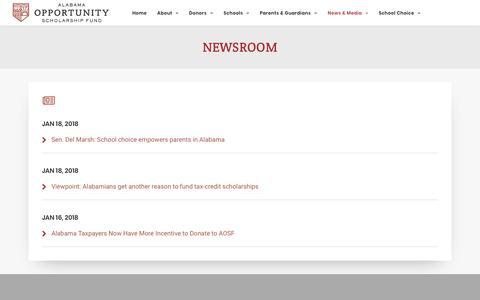Screenshot of Press Page alabamascholarshipfund.org - Newsroom   Alabama Opportunity Scholarship Fund - captured Dec. 18, 2018