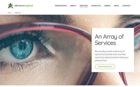 Screenshot of Services Page allentownoptical.com - Wholesale Contact Lens Manufacturers, Eyeglass Lens Coatings, Optical Services Allentown, PA | Allentown Optical - captured Oct. 3, 2018
