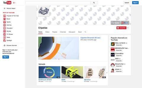 Screenshot of YouTube Page youtube.com - Clipatize  - YouTube - captured Oct. 22, 2014