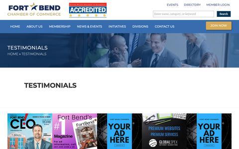 Screenshot of Testimonials Page fortbendchamber.com - Testimonials – Fort Bend Chamber of Commerce - captured Nov. 14, 2018