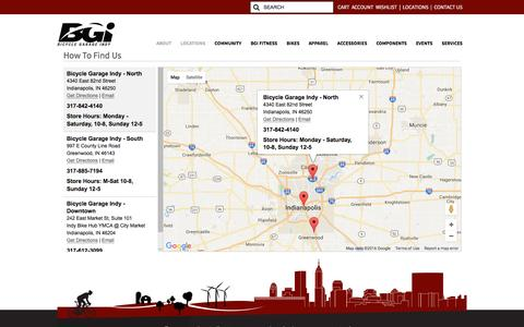 Screenshot of Locations Page bgindy.com - Store hours, addresses, maps, contact email telephone - Bicycle Garage Indy - Indianapolis and Greenwood, Indiana - captured Nov. 22, 2016